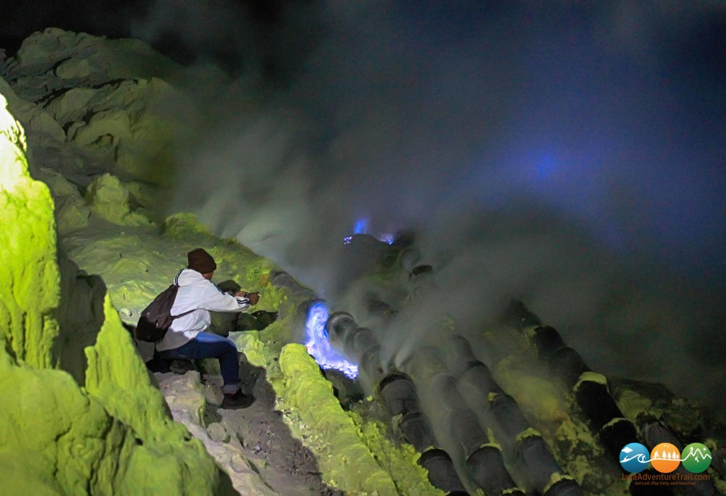 Blue Flame in Ijen Crater