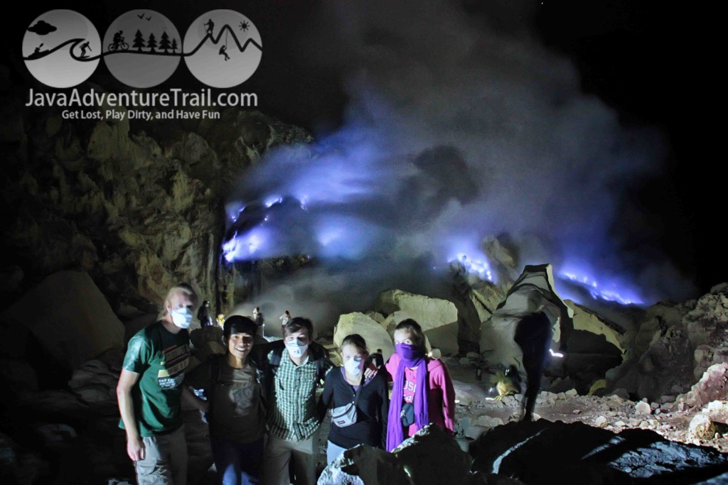 Blue Fire or Blue Flame in Ijen Crater